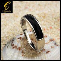 Cheap FG Size 7-10 New 18K White Gold Plated Simple Resin Stone Ring Black For Men Women