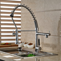 double vanity - Chrome Brass Spring Kitchen Faucet Double Handles Vanity Vessel Sink Mixer Tap Deck Mounted Hot and Cold Water