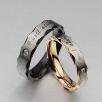 Wholesale Titanium Steel Diamond Couple Rings Lover Gift New Personality Korea Style Geometry Valentine Love Rings