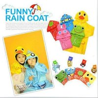 Wholesale Kids Funny Kids Raincoat Rainwear Rainsuit Child Cartoon Auto Duck Bunny Frog arz99