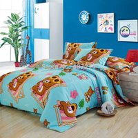 bear quilt fabric - Children cute cartoon bear pigment print bedding sets cotton fabric queen size quilt cover flat sheet comforter sets pc