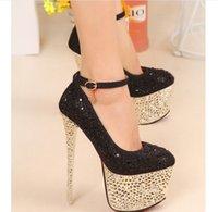 Wholesale Bling Super High heeled CM Women Shoes Platform PU Wedding Shoes Bridal Shoes Crystal Diamond Shoes Lady Sandals Gold Sliver Black K3310