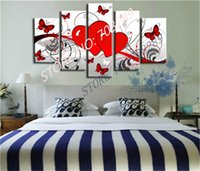 abstract heart paintings - set Red heart Butterfly white abstract Home Decors Oil Painting Modern Art Wall Pictures Paintings On Canvas Hand Painted