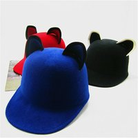 Wholesale Autumn and Winter Wool Hat With Ear Hat Cute Little Devil Cap Knight Cap Equestrian Cap Formal Hat Fedoras