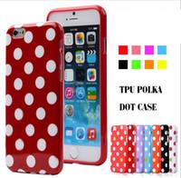 Élégant motif de point de polka coloré étui en caoutchouc en caoutchouc pour iphone 6 plus / iPhone 6s plus 5.5