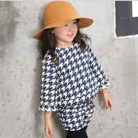 best linen shirts - Korean Style Childrens Fashion Outfit Best Sale Girls Round Neck Dark Blue Swallow Gird Set Kids Long Sleeve T shirt And Skinny Shorts