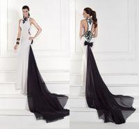 amd fashion - Black amd White Evening Dresses New Tarik Ediz Mermaid Court Train Jewel Applique with Chiffon Sleeveless Hollow Formal Evening Gown