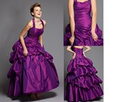 Wholesale 2015 New High Quality Beads Sequins Purple Prom Dresses Halter Beautiful Tony Bowls Ball Gown Special Occasion Dress Floor length Zipper