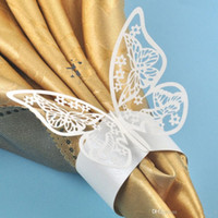 Wedding Napkin Rings - Laser Cut Hollow Butterfly Paper Napkin Rings wedding napkin holder for Hotel Wedding Banquet Table Decoration Accessories