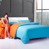 Wholesale Lucky home textile Fashion pure color series bedding sets orange and blue plant cotton double color stripe
