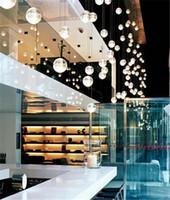 Wholesale 2016 top LED Crystal Glass Ball Pendant Lamp Meteor Rain Ceiling Light Meteoric Shower Stair Bar Droplight Chandelier Lighting AC110 V