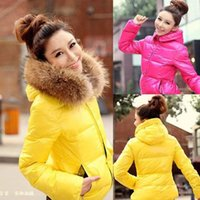 fur collar - Hot Selling New oversized fur collar thick fur collar cotton padded jacket cotton padded jacket short paragraph Slim coat2014 Winter