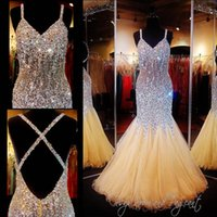 Wholesale Luxury Crystal Prom Dresses Mermaid Sexy Criss Cross Backless Beading Evening Gowns Spaghetti Neckline Tulle Formal Party Dress
