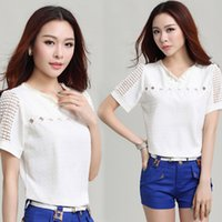 high quality t-shirt white - 2015 New T Shirts White Blouse Hollow Out Short Sleeve V neck Pearl Design High Quality Cotton Blend shirt Summer Hot Sale Lace Clothing