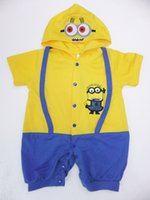Cheap Despicable Me Minions Romper Infant Cartoon Baby Clothes Baby Boy and Girl Costume Jumpsuit Child Summer Hoodies Tops free shipping in stock