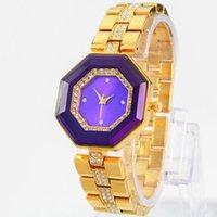 analog table clock - 2016 New model Luxury dress watch women watch gold famous table Noble Elegant clock purple case Stainless steel lady Bracelet Wristwatch bo