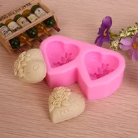 Wholesale Double heart shape Chocolate Candy Jello D silicone fondant lace Mold Mould cake decoration pastry tools