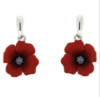 anniversary souvenirs - White Gold Tone Red Enamel Flower Poppy Earrings UK British Legion Jewellery Remembrance Day Gifts Souvenir
