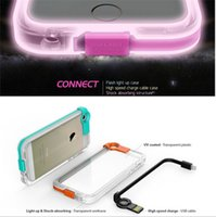 Wholesale LED Cover With High Speed Charge USB Cable Flash Light Up Transparent TPU ACRYLIC Back Case For iPhone S plus