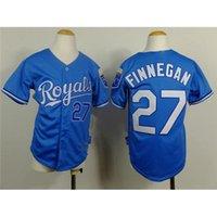 Jersey de béisbol Reales barato # 27 Brandon Finnegan azules Los bebés de los uniformes de béisbol 2015 del nuevo del estilo del béisbol de los niños viste camisas cosidas Deportes