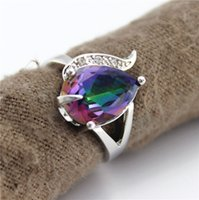 Wholesale 2015 Limited Conjuntos Romantic Sterling Silver Wedding Ring with Big Stone Simulated Diamonds Fashion Rings Women Rainbow Topaz J092