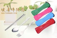 Wholesale Portable Stainless Steel Cutlery Eco friendly Fork Spoon Chopsticks Health Creative Outdoor Tableware Campe Travel Adult kids Children Gifts