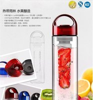 al por mayor plastic bottle for drinking water-2016 Nueva BPA libre de la fruta Fuzer Infusing 700ML Infusor Eco-frindly plástico termos botella de agua de Deportes Juguera Beber Vasos Botella