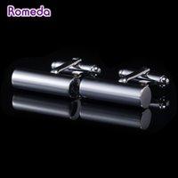 Wholesale Romeda Simple Cylinder Cufflinks Fashion Black Men Shirt Gemelos Wedding Cuff Links Jewelry Groomsmen Trendy Cylinder Cufflinks