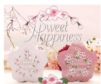 Wholesale 10 cm Sakura candy boxes wedding Favor Holders European tin box fresh peach blossom Easter candy boxes valentine gift box wedding party