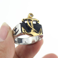 anchor rings - Mens Navy Nautical Sailor L Stainless Steel Anchor Ring Silver Gold Size