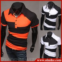 Cheap 2014 Summer Free shipping New men's street style fashion Polo hit the color design of wild short-sleeved POLO shirt S-XXL E003