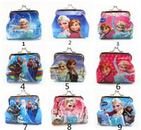 fashion pvc purse - New fashion baby girls Frozen Coin Purses kids Snow Queen wallet chilldren princess Elsa Anna money bag party supplies Kids gift bag HJH