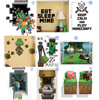 Wholesale DHL Ship D Minecraft through Wall Stickers Creeper Decorative Steve Dig Wall Decal Cartoon Wallpaper Kids Party Decoration Wall Art Poster