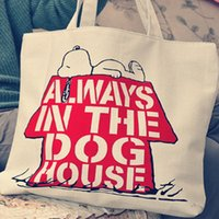 Wholesale Cute dog animal prints hand painted canvas bag zipper bag student bag bags