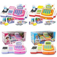 Wholesale 2015 Supermarket Checkout Counter Cash Register Toy with Barcode Scanner Calculator Play Money and Shopping Playset for Kids