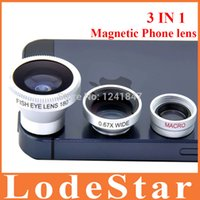 android phone len - Hot in Magnetic Wide Angle Macro Phone lens FishEye Len camera Kit Set for iPhone for HTC Samsung android phone set