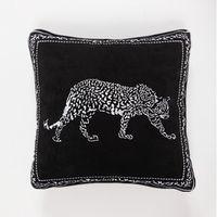 Preto Tecido Leopard bordada almofadas do sofá travesseiro capa de almofada BM432