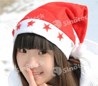 Wholesale Party Hats Christmas Hats Cap LED Red Hat Flashing Light Santa Claus Cap Soft Gifts Ornaments Free DHL Factory Direct