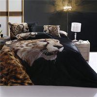 leopard print bedding - 3D bedding cotton reactive printed bedding set bed set anti pilling anti static Leopard design pillowcase bed skirt black FS