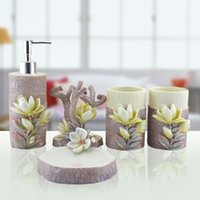 bath decor accessories - Hand Engraved Plant Lily Sculpture Resin Bathroom Accessories Set Art Bath Set Toothbrush Holder Soap Dish Wash Decors order lt no trac