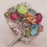aquamarine peridot jewelry - Ruby Aquamarine Morganite Peridot Sterling Silver Ring Size F663 Fashion Jewelry
