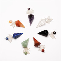 Wholesale 7pcs Assorted Crystal pendulum Pendant Bead Red jasper Rock quartz chakra healing stone reiki free pouch