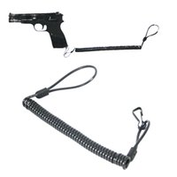 Wholesale New Tactical Rifle sling Pistol Hand Gun Secure Spring Lanyard Sling with Belt Velcro Outdoor Combat Gear Black