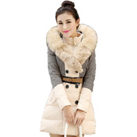 b hood - new Hot Warm Fashion Long Slim Thick Women Winter Jacket Houndstooth Patchwork Luxury Raccoon Fur Hood Down Coat B