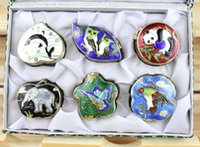 Wholesale 1Set Classic Chinese Handmade Animal Cloisonne Jewelry Box Powder Case Box