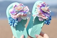 Wholesale Women Shoes Thickness Green Flower Flip Flops Beach Shoes Slipsole US6 Size Sandlals Women Shoes