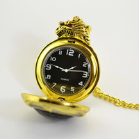 Wholesale Fashion Luxury Golden Dragon Engraved Fob Watch Vine Quartz Men Pocket Watch with Pendant Chain J0684
