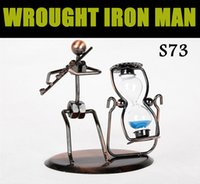 antique office desks - 2015 Creative WROUGHT IRON MAN Hand Made Arts And Crafts Home Office Desk Decoration Vivid Iron Arts Music Performer