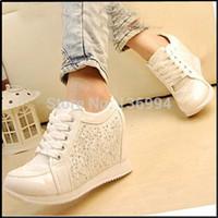Wholesale 2015 Black White fashion Hidden Wedge Heels Rhinestone Casual elevator shoe Women s shoes Sneaker Sports Shoes For Women Color