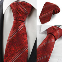 Wholesale High Quality Retail Red Scarlet Lovely Paisley Striped Men Tie Necktie Wedding Valentines Gift Drop Shipping